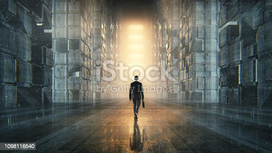 Businessman walking in dark futuristic city. This is entirely 3D generated image.
