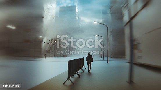 Businessman walking in empty futuristic street. This is entirely 3D generated image.