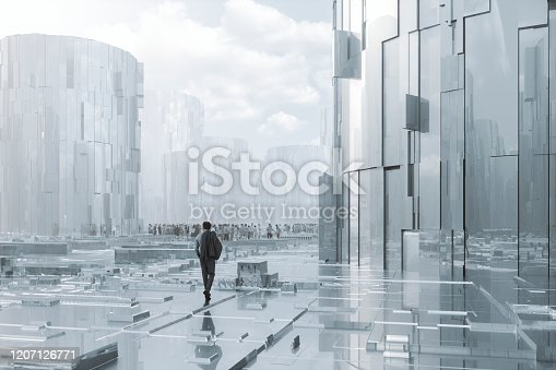 Businessman walking in futuristic city. This is entirely 3D generated image.