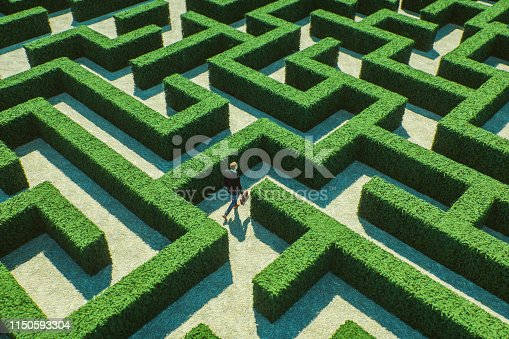 Businessman walking in maze. This is entirely 3D generated image.