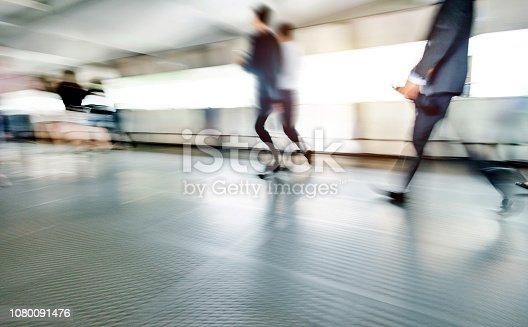171150458 istock photo Businessman walking on city footbridge 1080091476