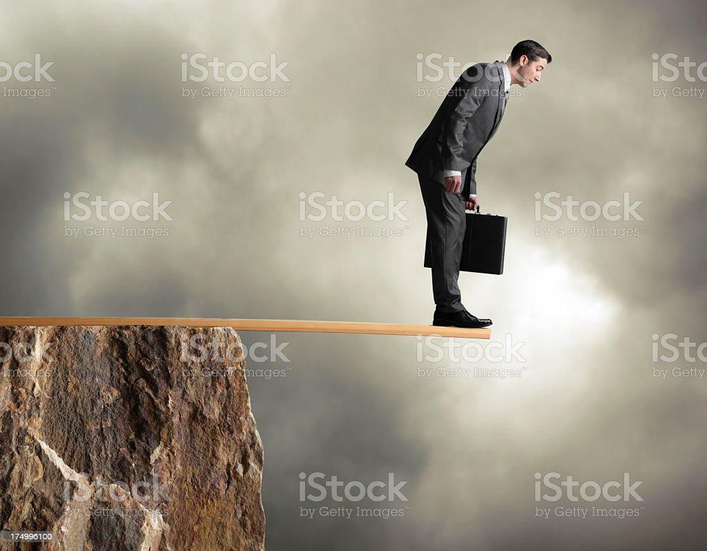 Businessman Walking the Plank royalty-free stock photo
