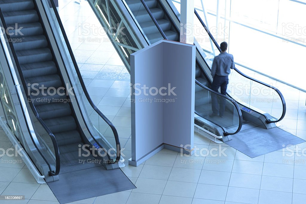 Businessman Walking Up Stairs stock photo