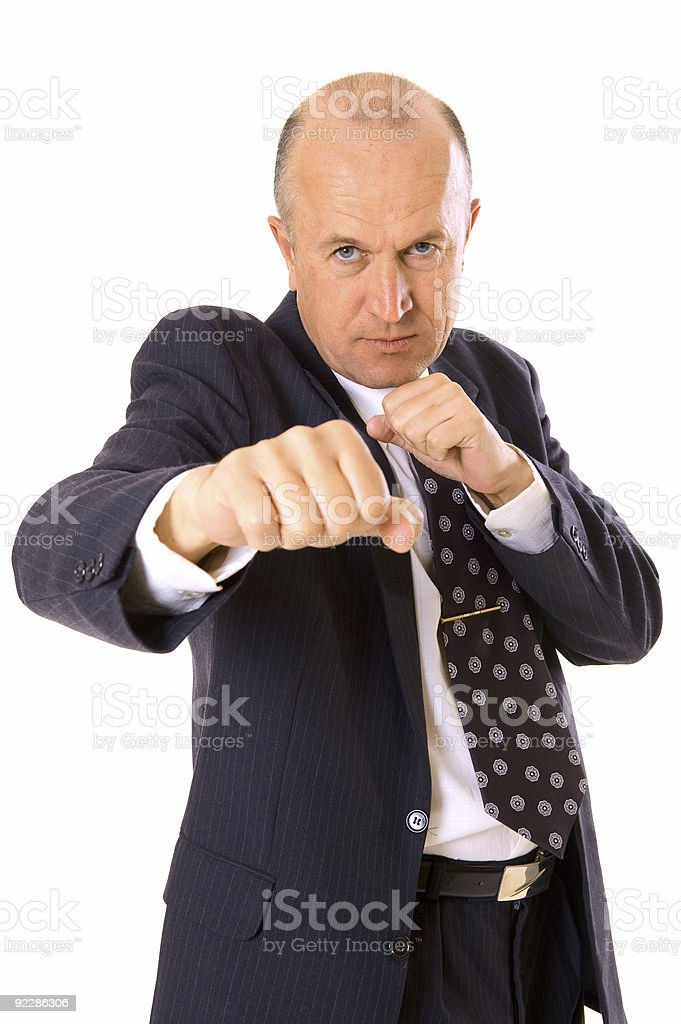 businessman want to fight with his competitor royalty-free stock photo