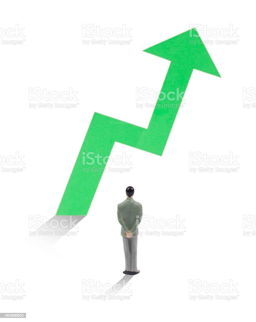 Businessman watch how statistic arrow growth stock photo
