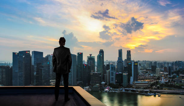 Businessman watching the city on the rooftop of skyscraper Businessman watching the city on the rooftop of skyscraper the bigger picture stock pictures, royalty-free photos & images