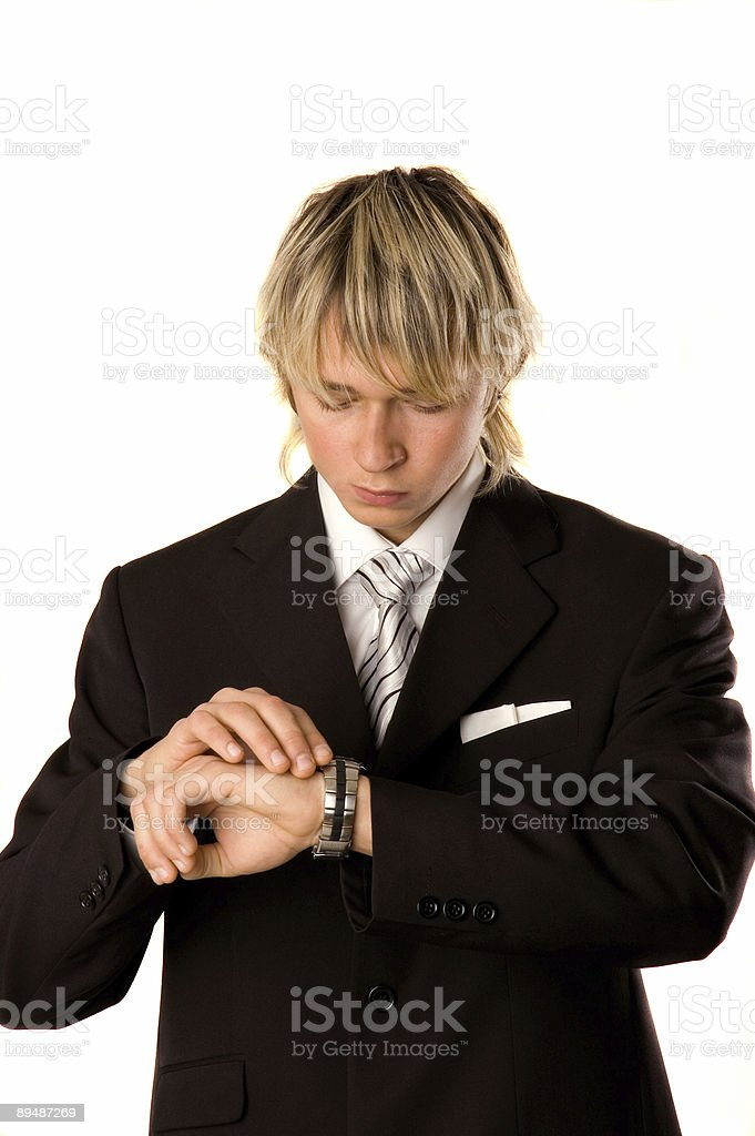 businessman watching the clock royalty-free stock photo
