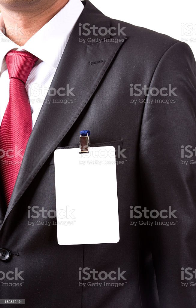 Businessman wearing a blank name tag royalty-free stock photo