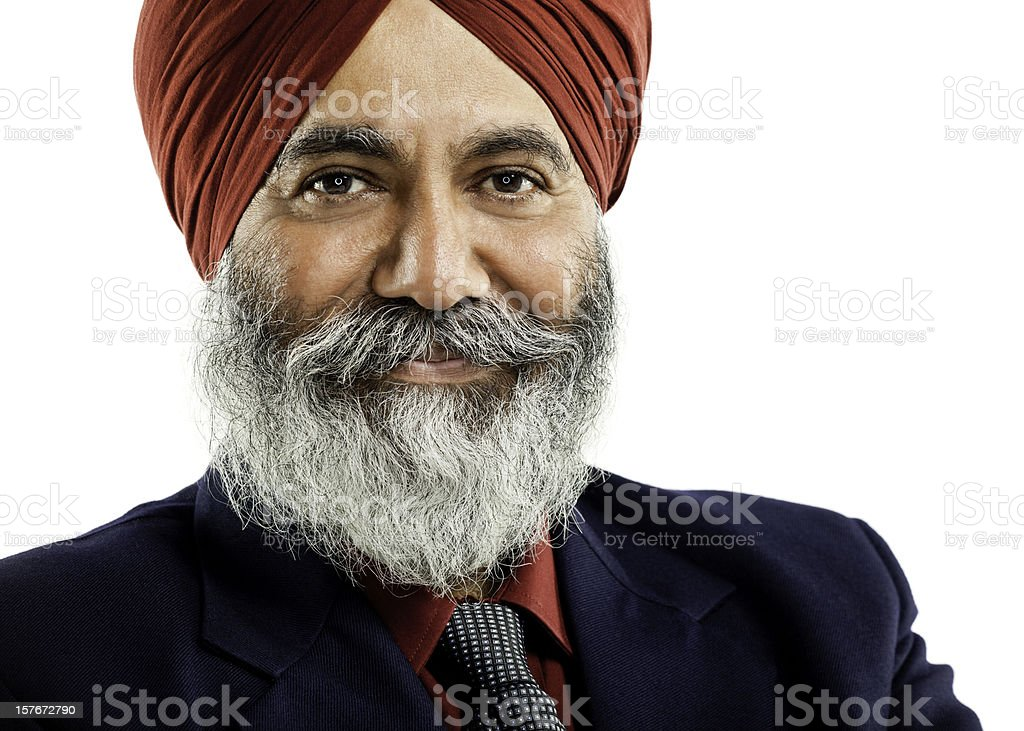 Businessman Wearing a Turban. Isolated royalty-free stock photo