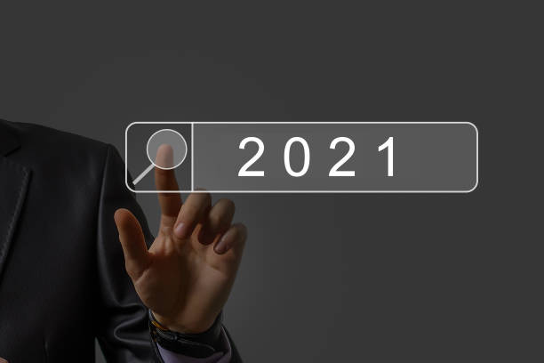 Businessman welcome year 2020-2021. Business new year card concept stock photo