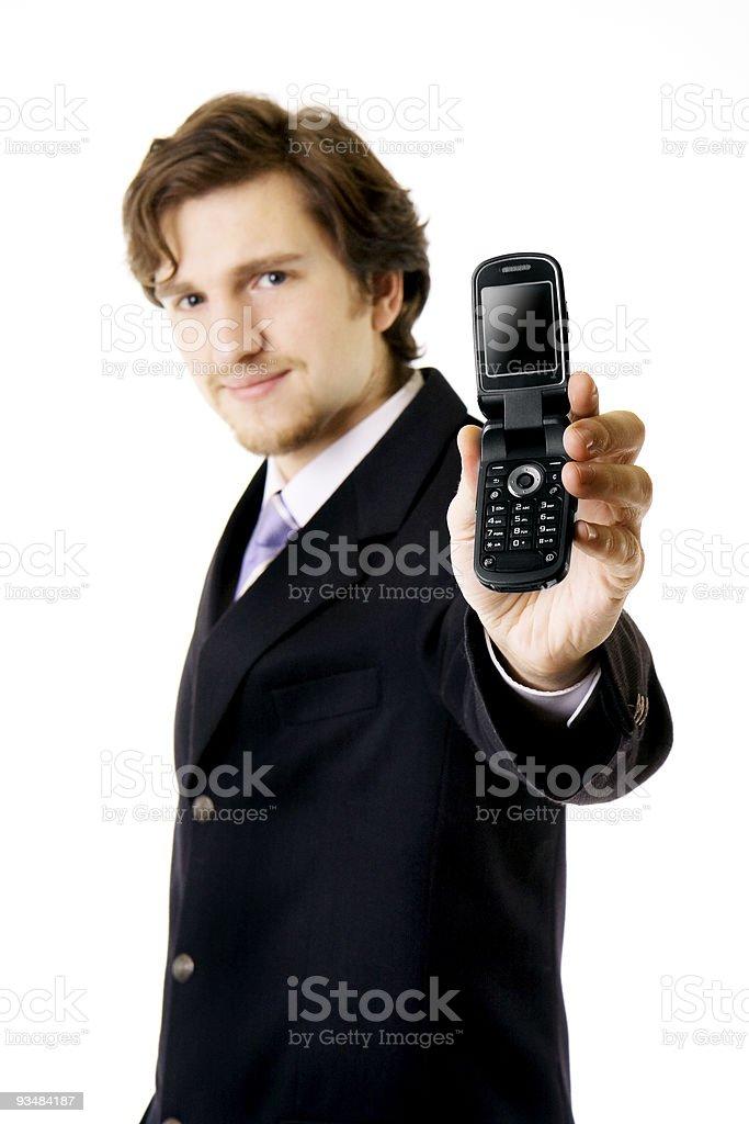 사업가 보여 전화 - 로열티 프리 기업 비즈니스 스톡 사진