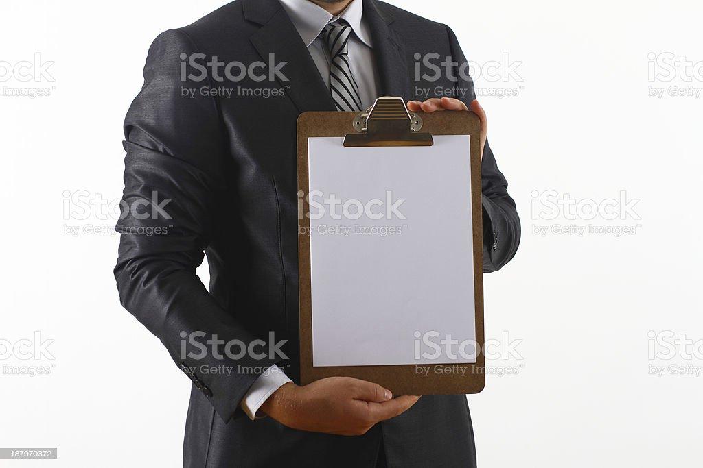 Geschäftsmann mit einem leeren Zwischenablage – Foto