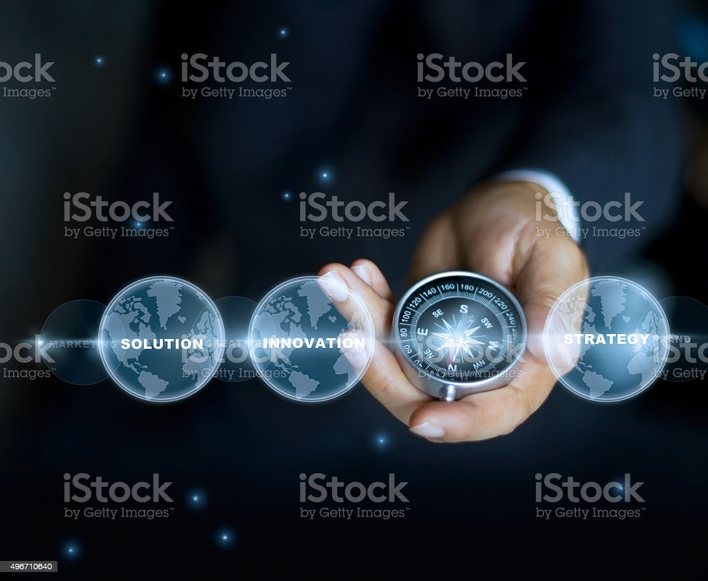 Businessman with a compass holding in hand and text word stock photo