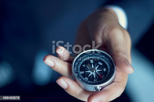 Technology Management Image: Businessman With A Compass Holding In Hand Stock Photo