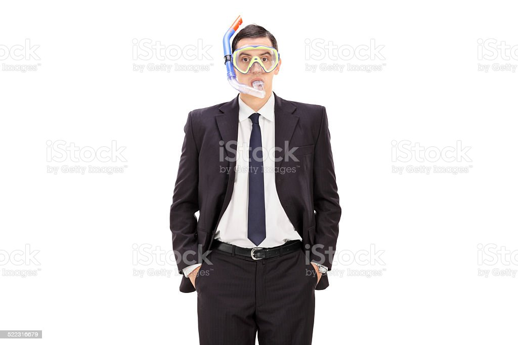 Businessman with a diving mask stock photo