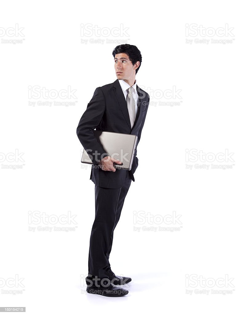 Businessman with a file in hand looking back royalty-free stock photo