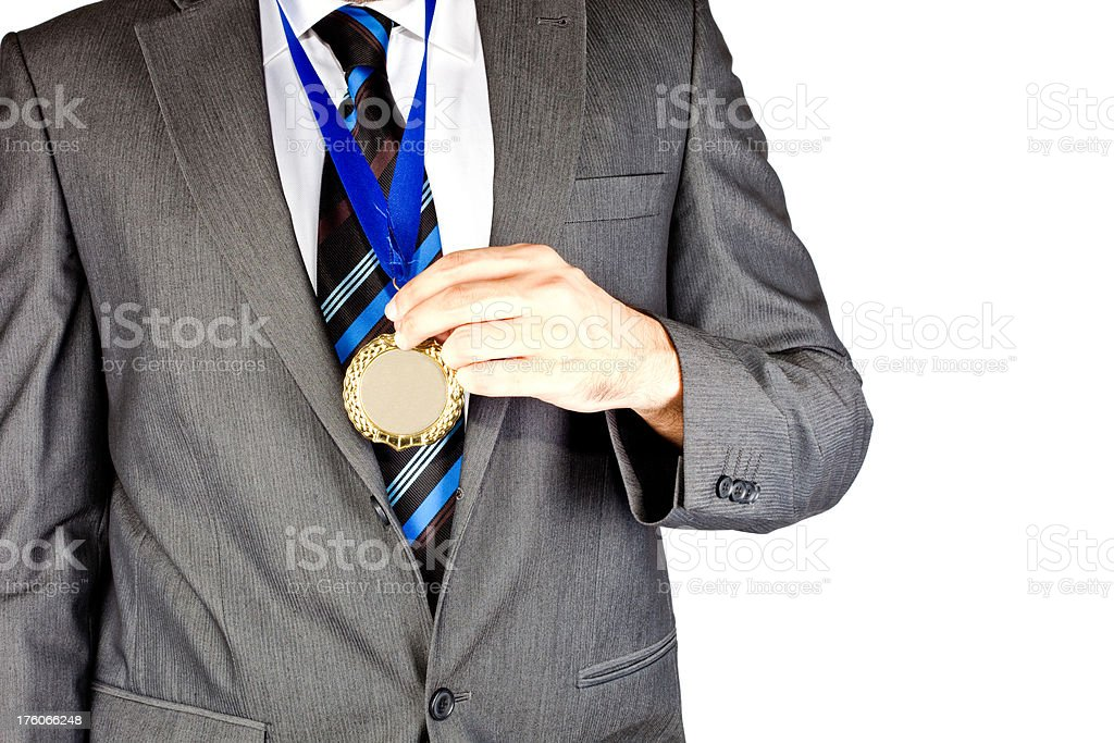 businessman with a gold medal (xxxl) royalty-free stock photo