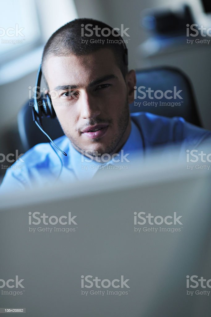 businessman with a headset royalty-free stock photo