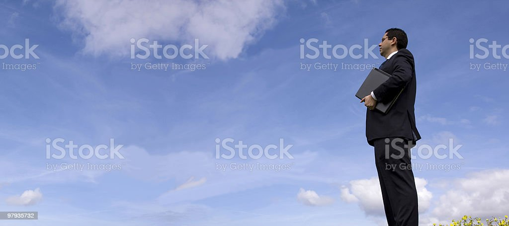 Businessman with a laptop royalty-free stock photo