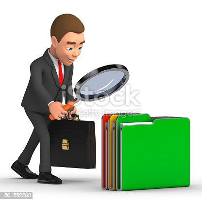 468153365 istock photo businessman with a magnifying glass and folders 501552263
