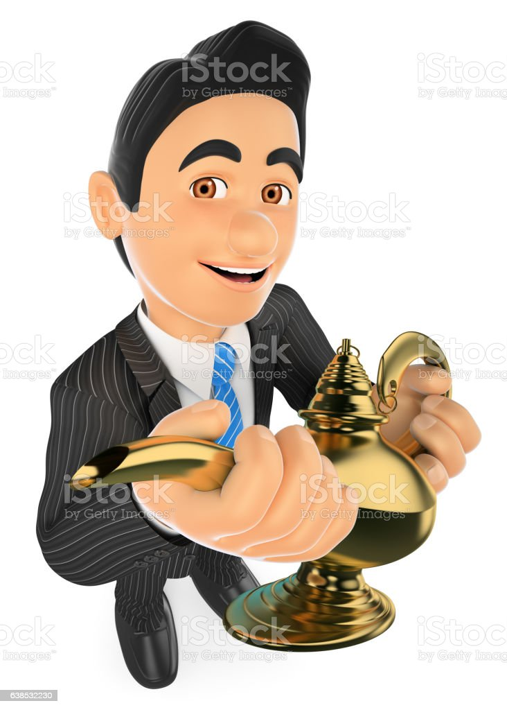 3D Businessman with a wonderful lamp. Lucky concept stock photo