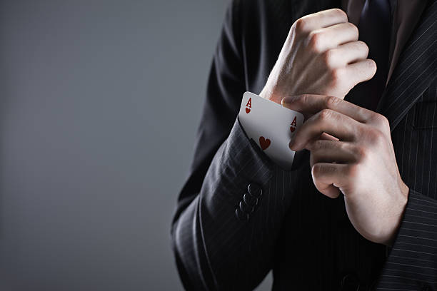 Businessman with ace card stock photo