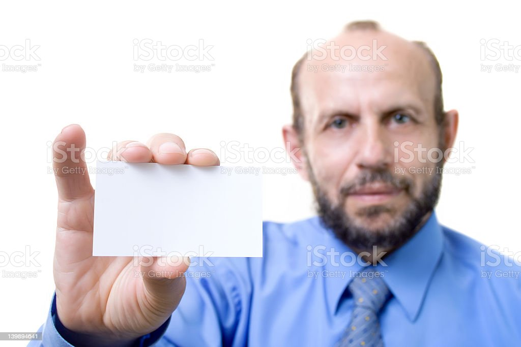 Businessman with an empty card royalty-free stock photo