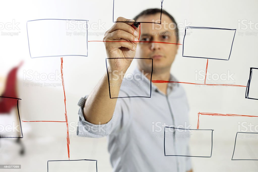 Businessman With an Organization Chart stock photo