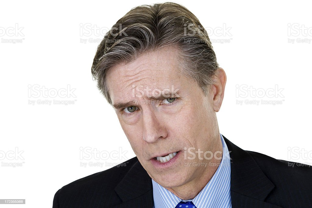 Businessman with an unhappy expression royalty-free stock photo
