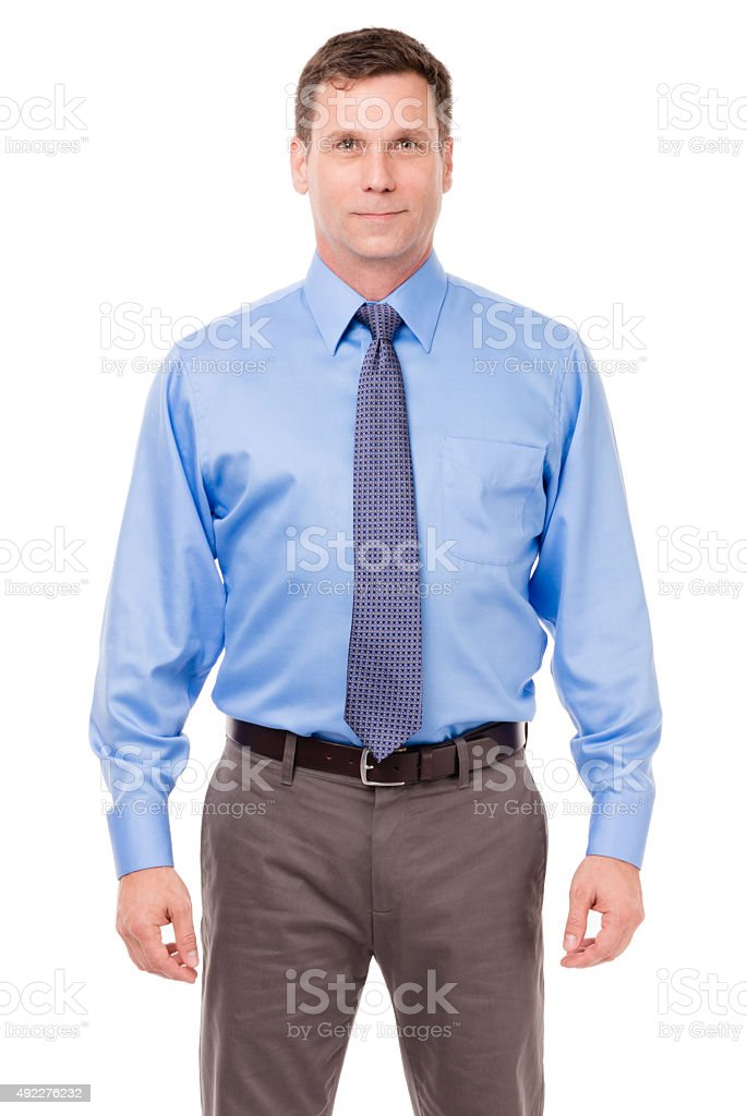 Businessman with arms at sides on White stock photo