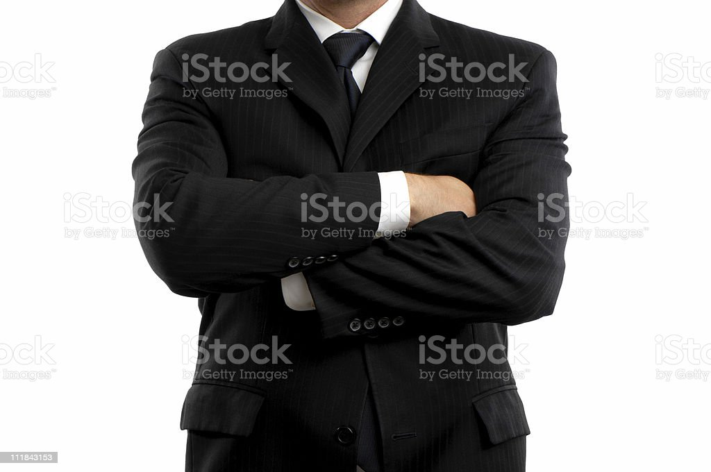 Businessman with Arms Crossed Cropped Isolated on White Background royalty-free stock photo