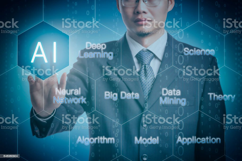 Businessman with artificial intelligence stock photo