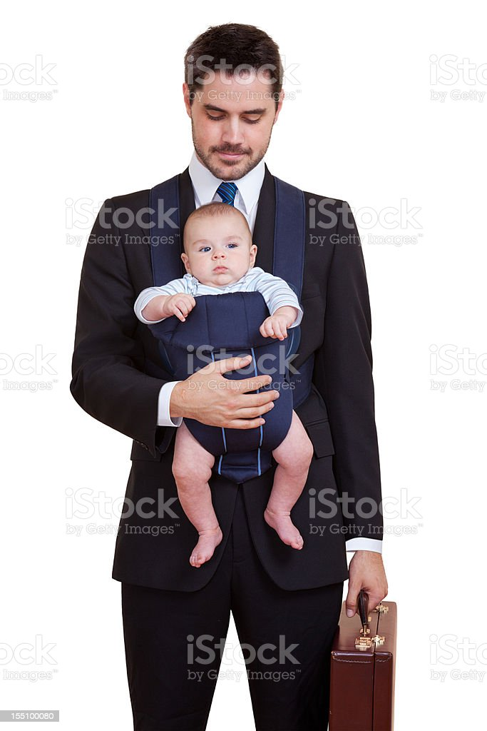 Businessman With Baby Isolated stock photo