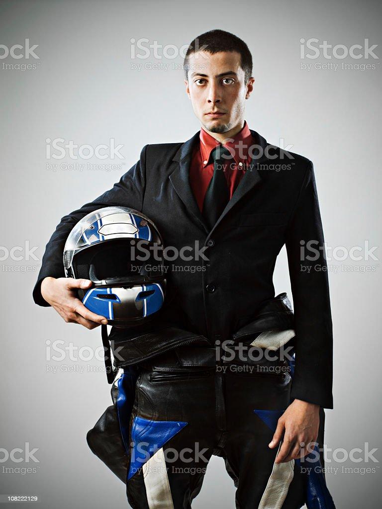 Businessman with biker suit stock photo