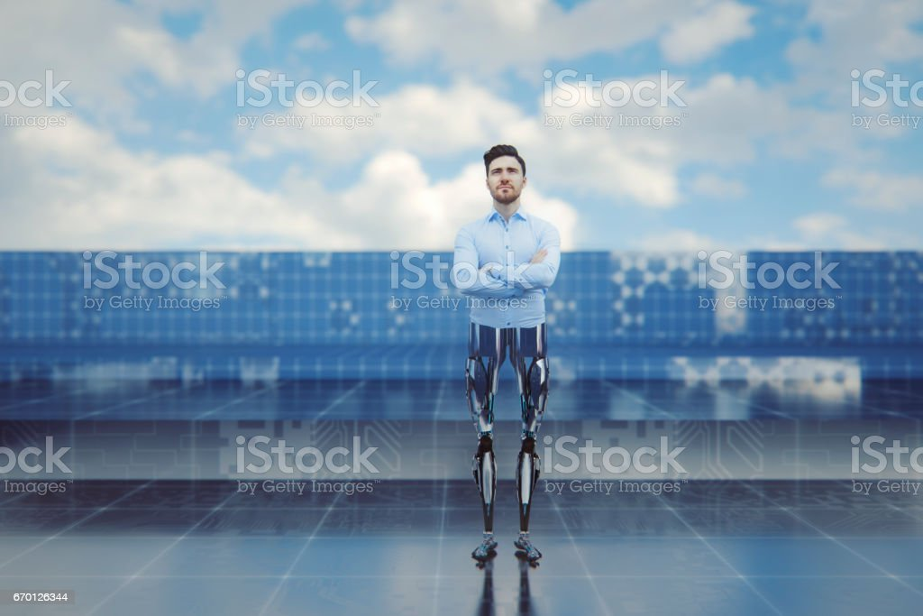 Businessman with bionic legs stock photo