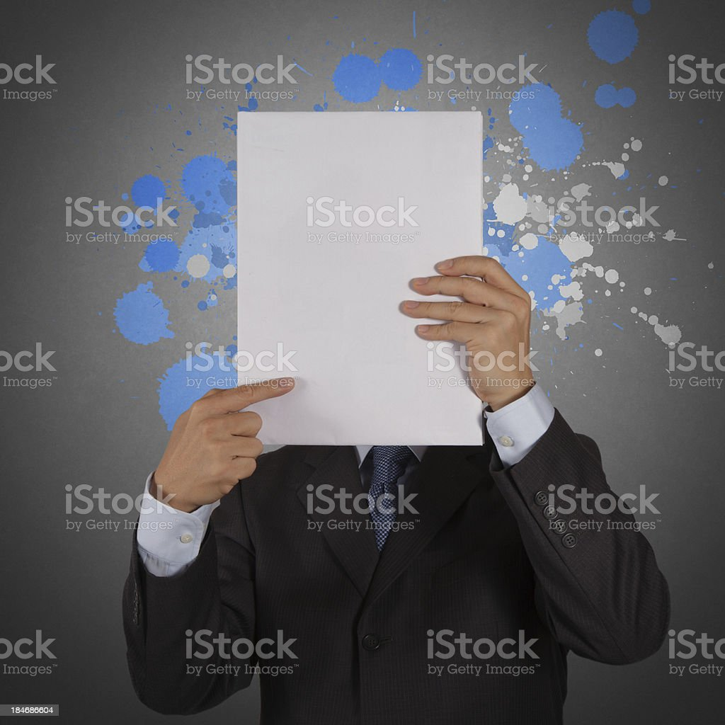 businessman with blank book and splash colors choice royalty-free stock photo