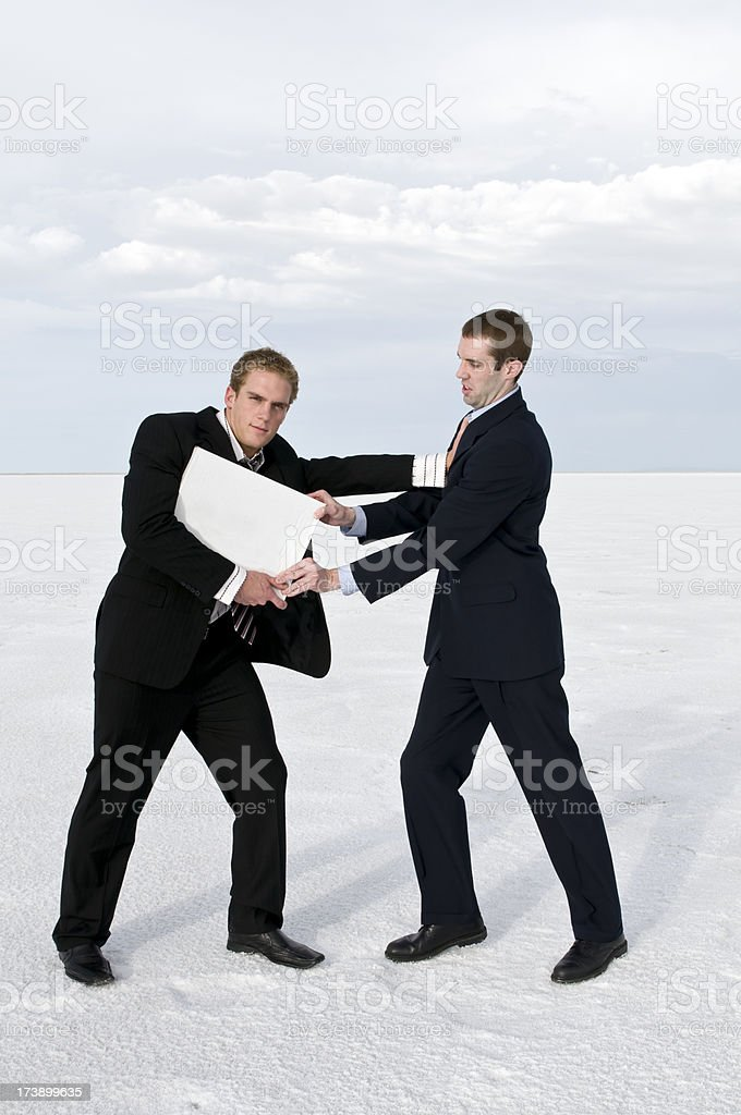 Businessman with blank box stock photo