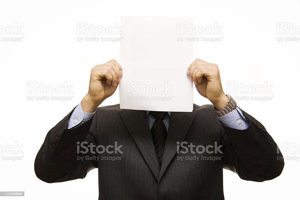 Businessman with blank face royalty-free stock photo