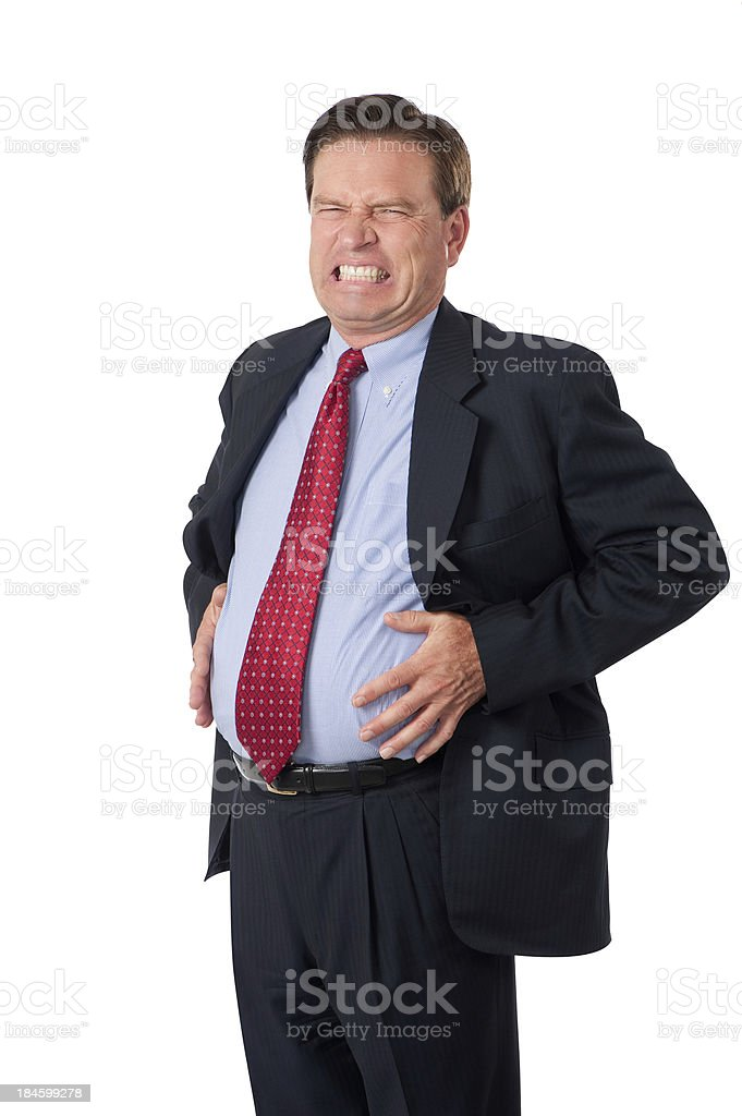 Businessman With Bloated Stomach stock photo