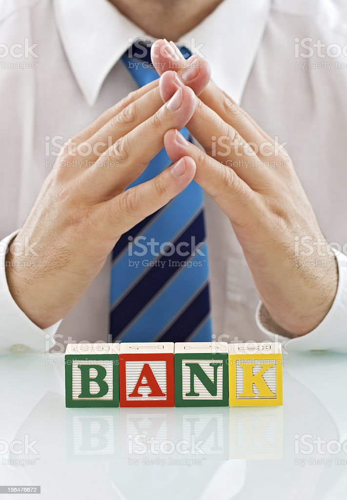 Businessman with blocks royalty-free stock photo