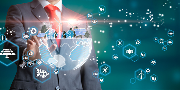 Businessman with blue planet. Renewable energy and efficency concept. 3D rendering. Environmental biodiversity.