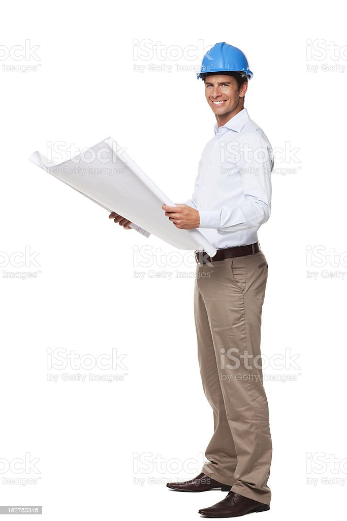 Businessman With Blueprints. Isolated royalty-free stock photo