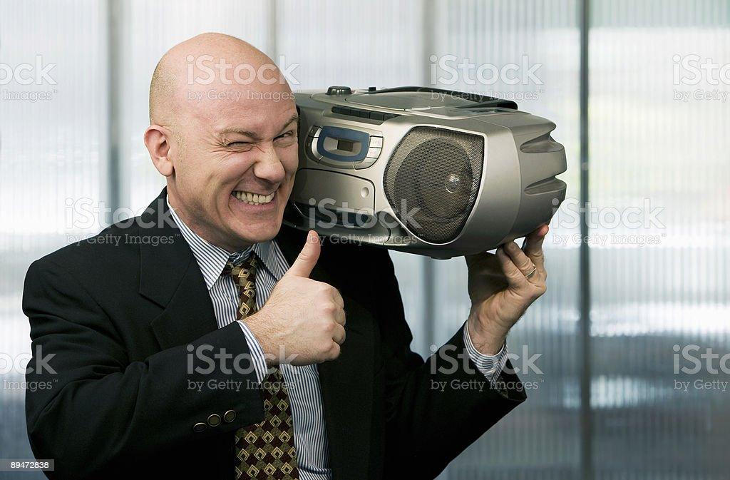 Businessman with Boom Box stock photo