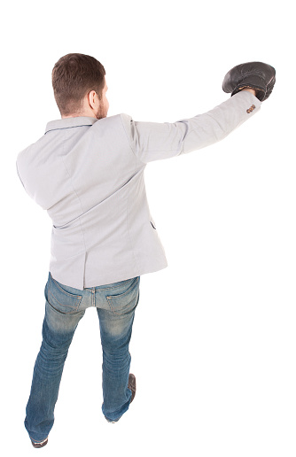 Businessman With Boxing Gloves In Fighting Stance Stock ...