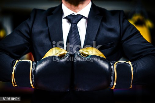 istock Businessman with boxing gloves is ready for corporate battle. 624619424