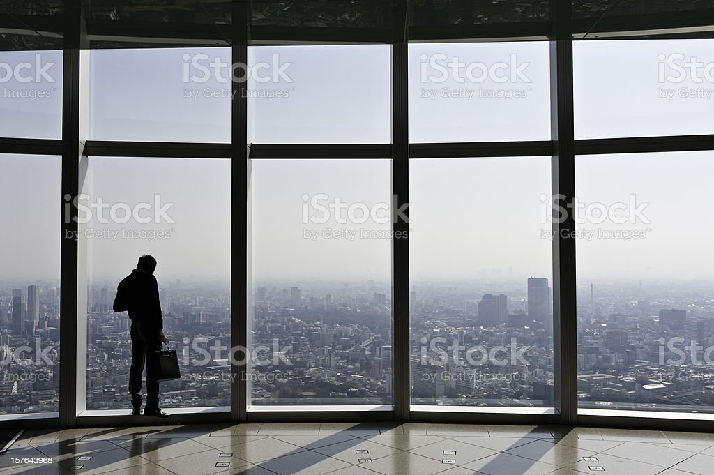 Businessman with briefcase looking over city through big windows Japan stock photo
