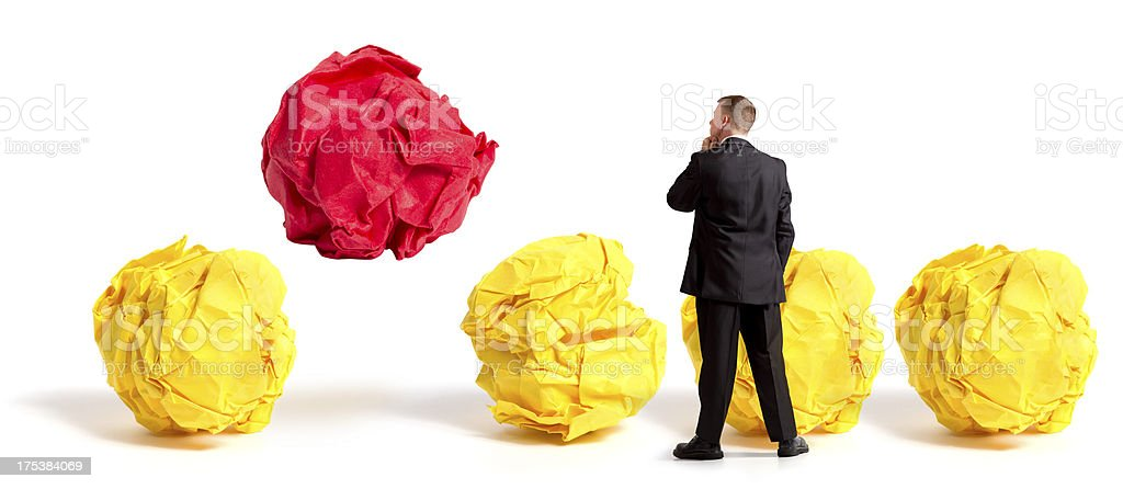 Businessman with Bright Idea stock photo