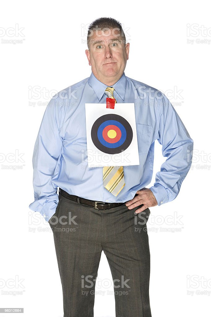 Businessman with bulls eye target on shirt royalty-free stock photo