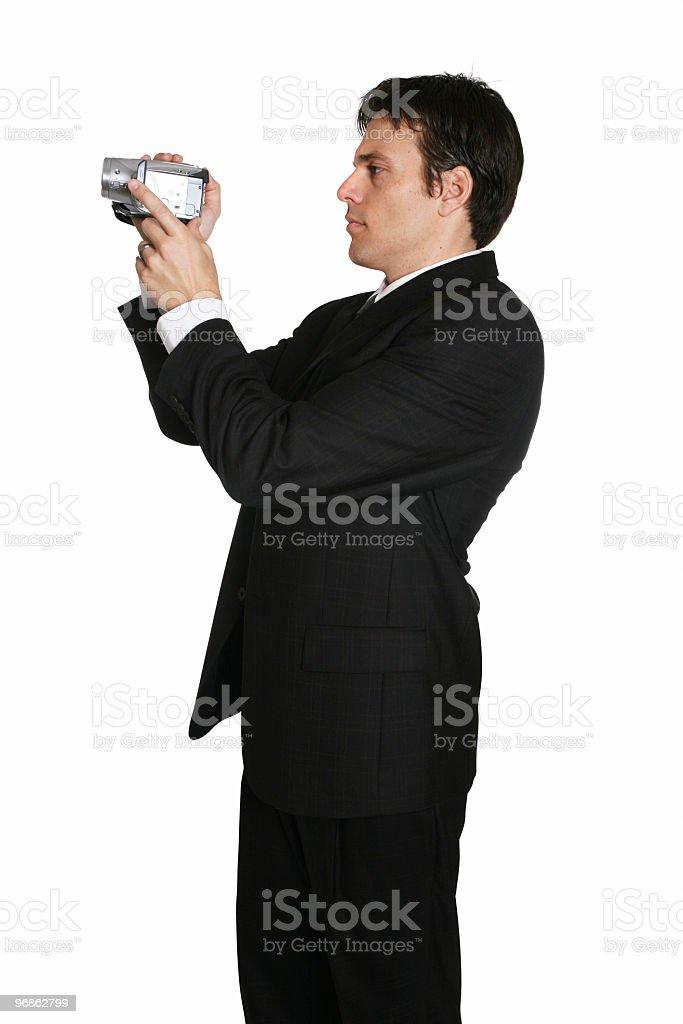 Geschäftsmann mit Videokamera Lizenzfreies stock-foto