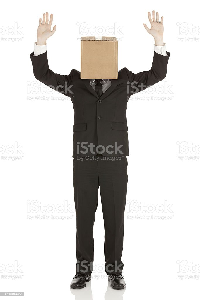 Businessman with cardboard box on his head royalty-free stock photo